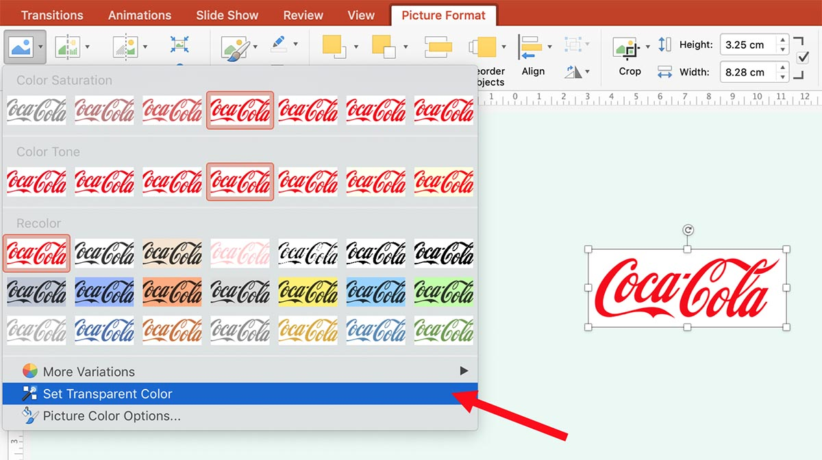 Setting Transparent Color in PowerPoint
